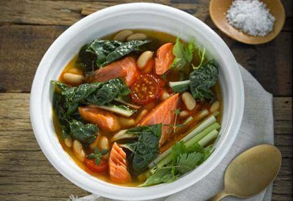 Silverbeet, Regal Wood Roasted Salmon and Cannellini Bean Soup