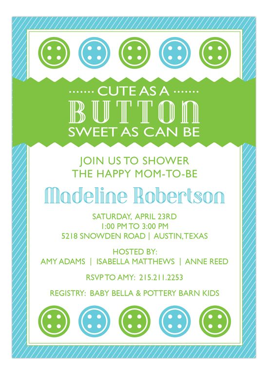 Peppermint Prints Cute as a Button Blue Baby Shower Invitation : Baby Shower Invitations
