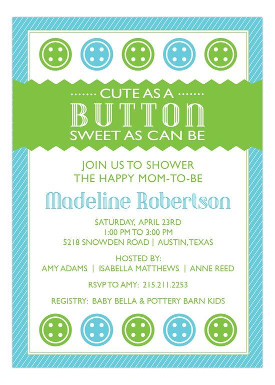 Cute as a Button Blue Baby Shower Invitation, boy, green, blue