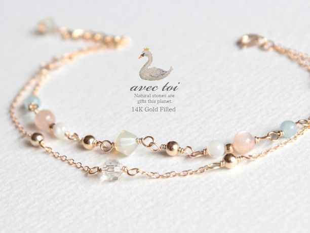 Delicate bead link double strand bracelet