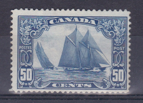vintage blue sailboat Canadian stamp, 50 cents.