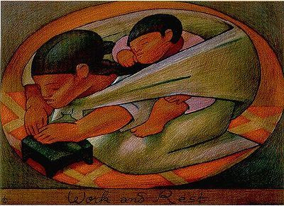 'Work and Rest', color lithograph by Jean Charlot, 1956