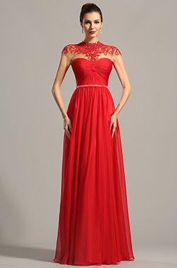 Hoch Ausschnitt Spitze Dekoration Rot Abendk Formal Kleid  (02154202)