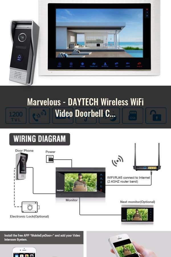 DAYTECH Wireless WiFi Video Doorbell Camera IP Ring Door