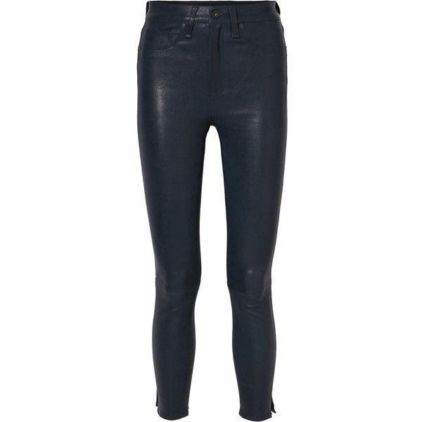 rag & bone High-rise leather skinny pants (£735) ❤ liked on Polyvore featuring pants, navy, leather pants, high waisted trousers, high-waisted pants, high-waisted trousers and navy blue skinny pants