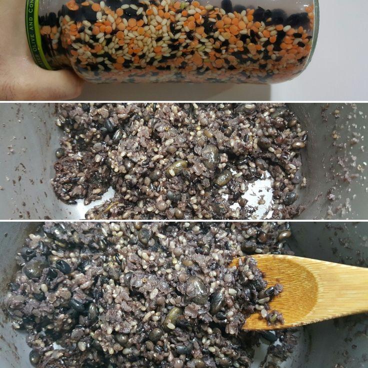 [ 2016년4월28일. Thursday. 11PM ] ➡ preparation : morning meal for tomorrow° ☆ lentils + (glutinous) black rice + brown rice + black bean + small black bean° Store them in the empty glass bottle and keep them soaked in water overnight for easy cooking ✔ • ➡ [ 체지방 커팅식단 ] 프랙탈 다이어트 식단 ♡ 렌즈/렌틸콩+찰흑미+현미+서리태(검은콩)+약콩 ☡ 취침 전, 미리 물에 밤새 불려놓기 (올리브 먹고 남은 큰 유리 빈병 사용 권장) • ■ I am Fractal Curator • 프랙탈 큐레이터 ● I do Fractal Exercise • 프랙탈 운동법 ● I keep Fractal Diet • 프랙탈 다이어트 ➡ I cook by myself • 식단 직접 구성 & 요리 ➡…