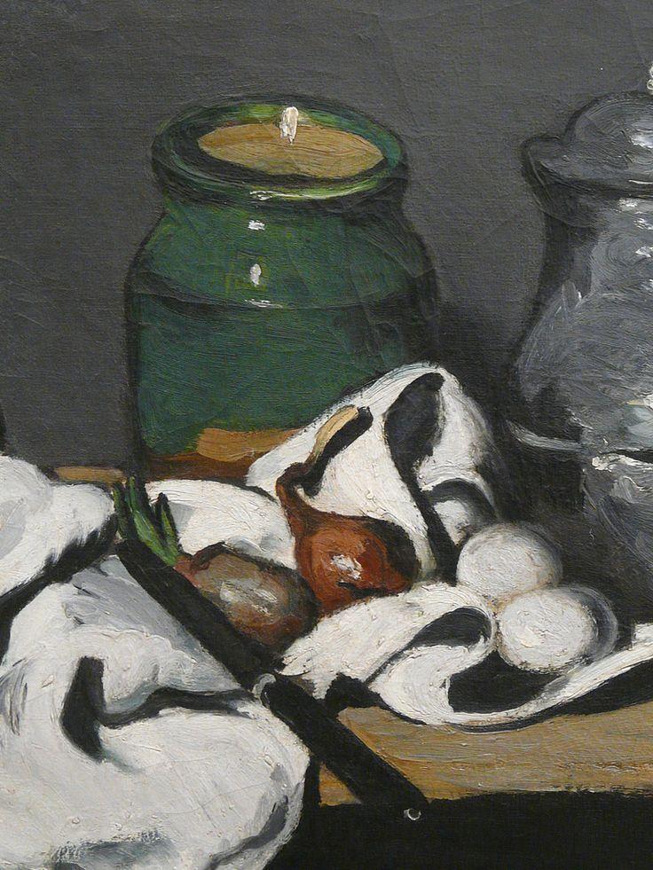 """CEZANNE,1867-69 - Pot vert et Bouilloire d'étain - Still Life with Green Jar and Pewter Kettle (Orsay) - Detail 5 - TAGS : details détail détails detalles painting paintings peinture peintures 19th 19e """"peinture 19e"""" """"19th-century paintings"""" paintings """"Still life"""" """"Nature morte"""" Orsay """"Nature morte"""" œufs eggs oignons onions nappe """"nappe blanche"""" """"white cloth"""" chiffon cloth gris grey Green Jar Pewter Kettle couteau knife vegetables vegetable légumes fruit fruits food pomme apple table"""