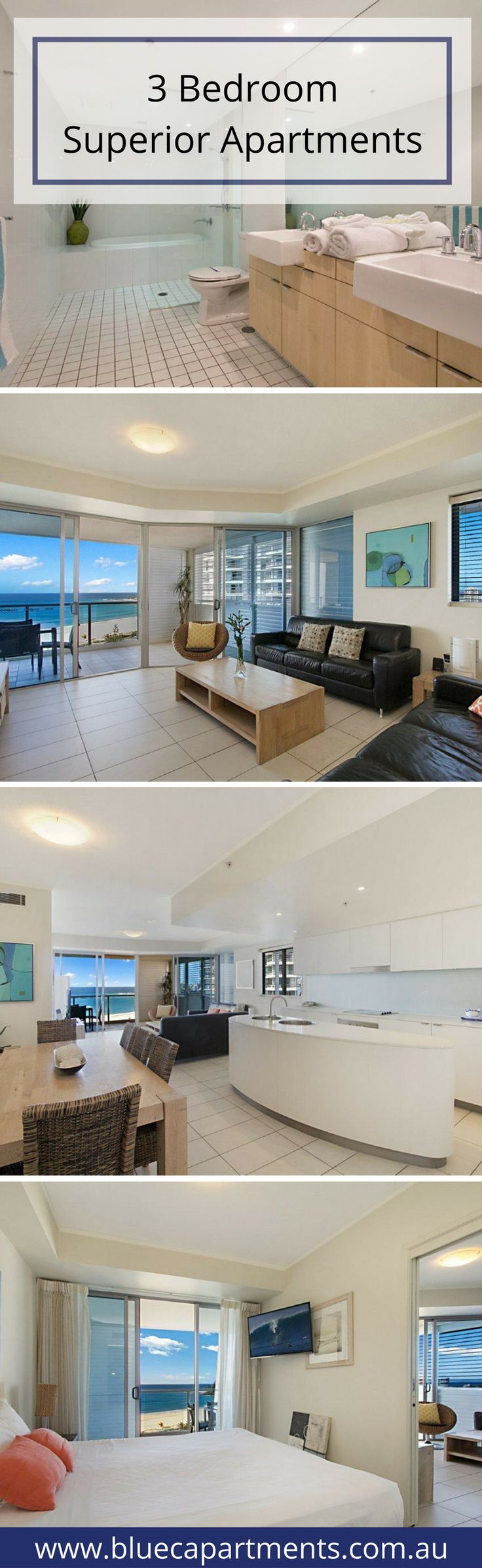 Our 3 bedroom apartments are the perfect home away from home allowing you to surround yourself and relax in the comfort and style our modern design presents and befitting the first class resort facilities we offer. CLICK here for more info http://bluecapartments.com.au/3-bedroom-apartment-coolangatta/ | Blue C Apartments Coolangatta Beach | Australia's Gold Coast & Tweed Valley Accommodations