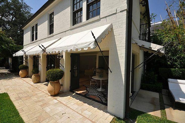 HAR - decks/patios - awnings, white awnings, patio awning, patio awning ideas,  Beautiful patio with black folding doors and white awnings.