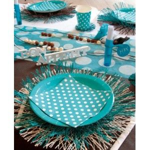 Serviette de table à pois blanc en papier, 20 serviettes à pois blanc de couleur fuschia, vert anis, bleu turquoise, chocolat, déco de table, art de table, fêtes, anniversaire.