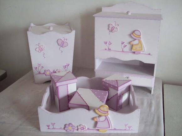 Kit de Higiene Porta Fralda, Lixeira, Cesta com 3 potes