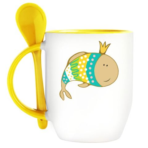 Кружка с ложкой Кружка с ложкой (желт.) - http://yuliyarodenkova.printdirect.ru