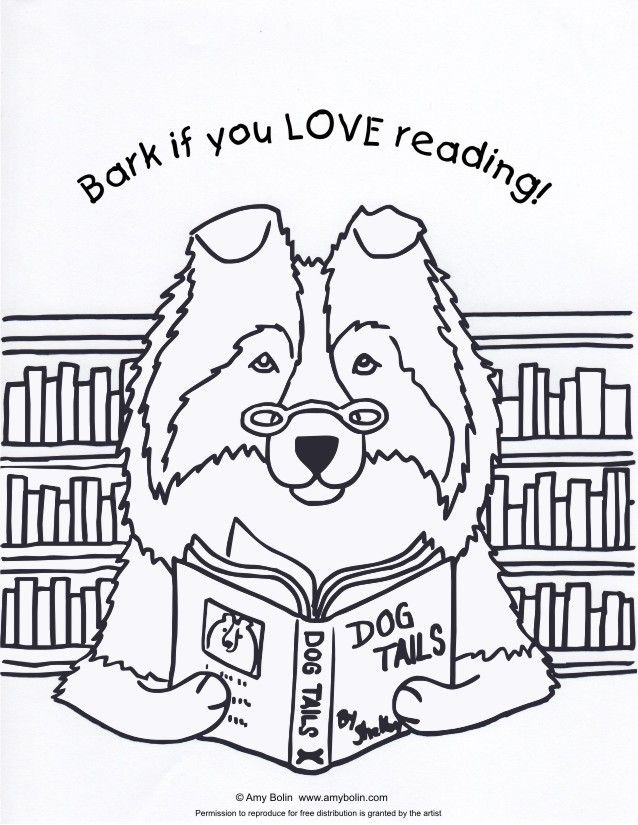 FREE COLORING SHEET DOWNLOAD Dog Tails Vol 3 BARK IF YOU LOVE READING