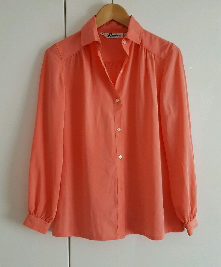 Womens smart casual salmon pink vintage long sleeve shirt button size 8-10