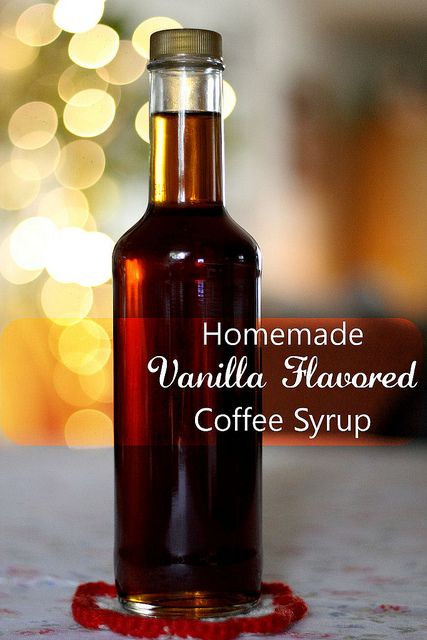 Homemade Vanilla Flavored Coffee Syrup: 1-1/2 c. water; 1-1/2 c. sugar; 1/4 c. brown sugar; 1-1/2 T. vanilla extract; In a medium saucepan over medium high heat, gently stir together the water and sugars. Cook until mixture becomes thick and syrupy (approximately 10-15 minutes). Allow to cool and stir in vanilla extract.