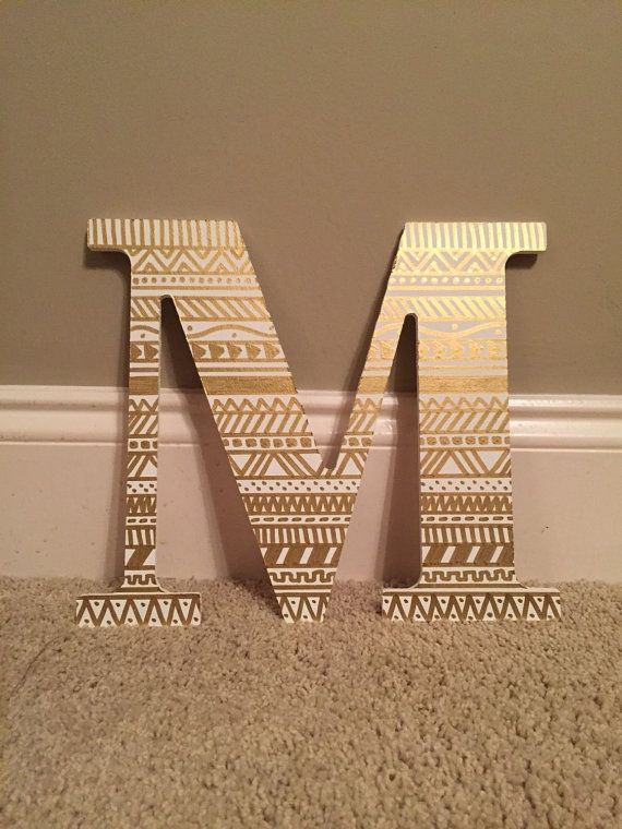 "Painted Letter: Gold and White Tribal Print  Will have Pi Beta Phi greek symbols in only gold (8"" letters)"