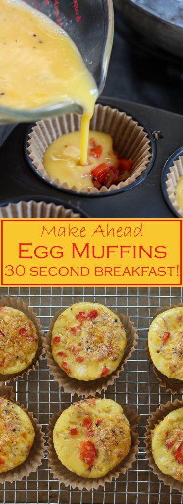 These super easy egg muffins are grain free, and a great way to have a hot, quick and protein packed breakfast on a busy morning!
