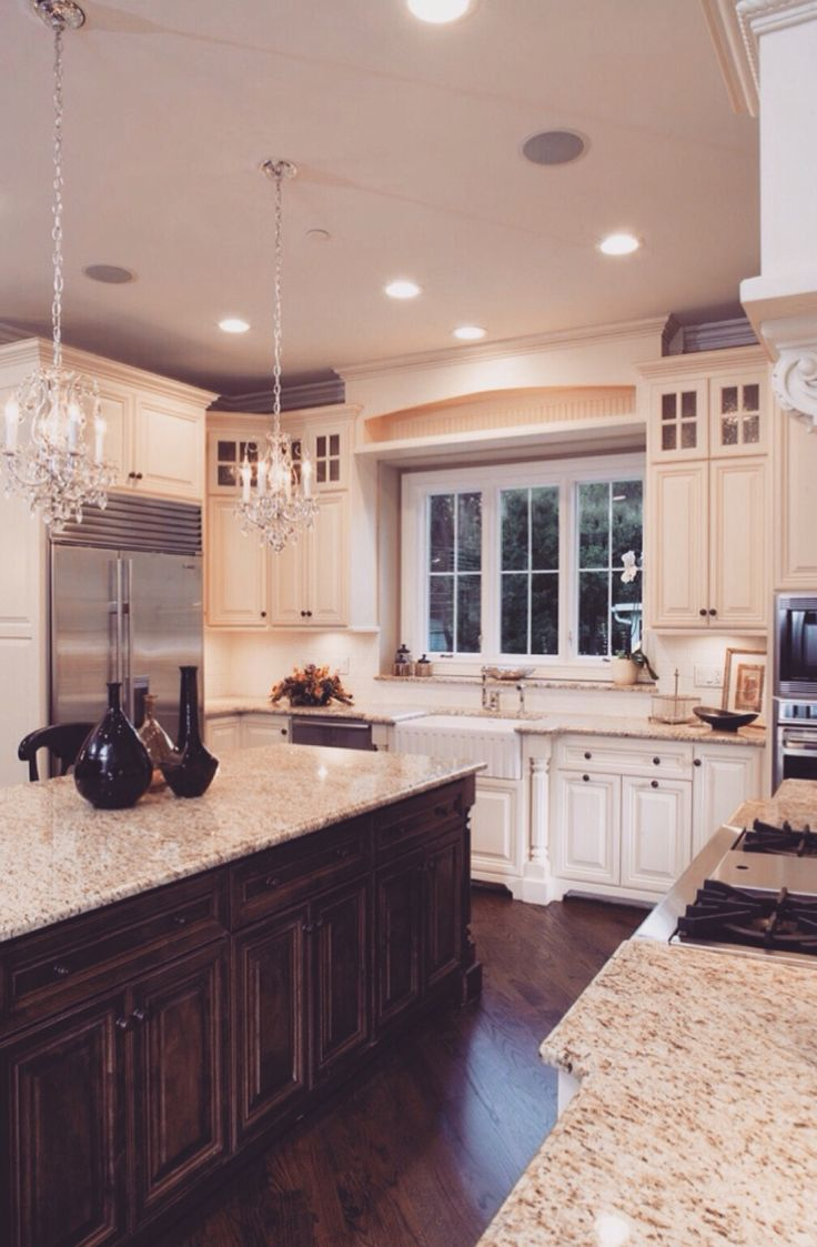 No chandeliers, not sure about white cabinet doors                                                                                                                                                      More