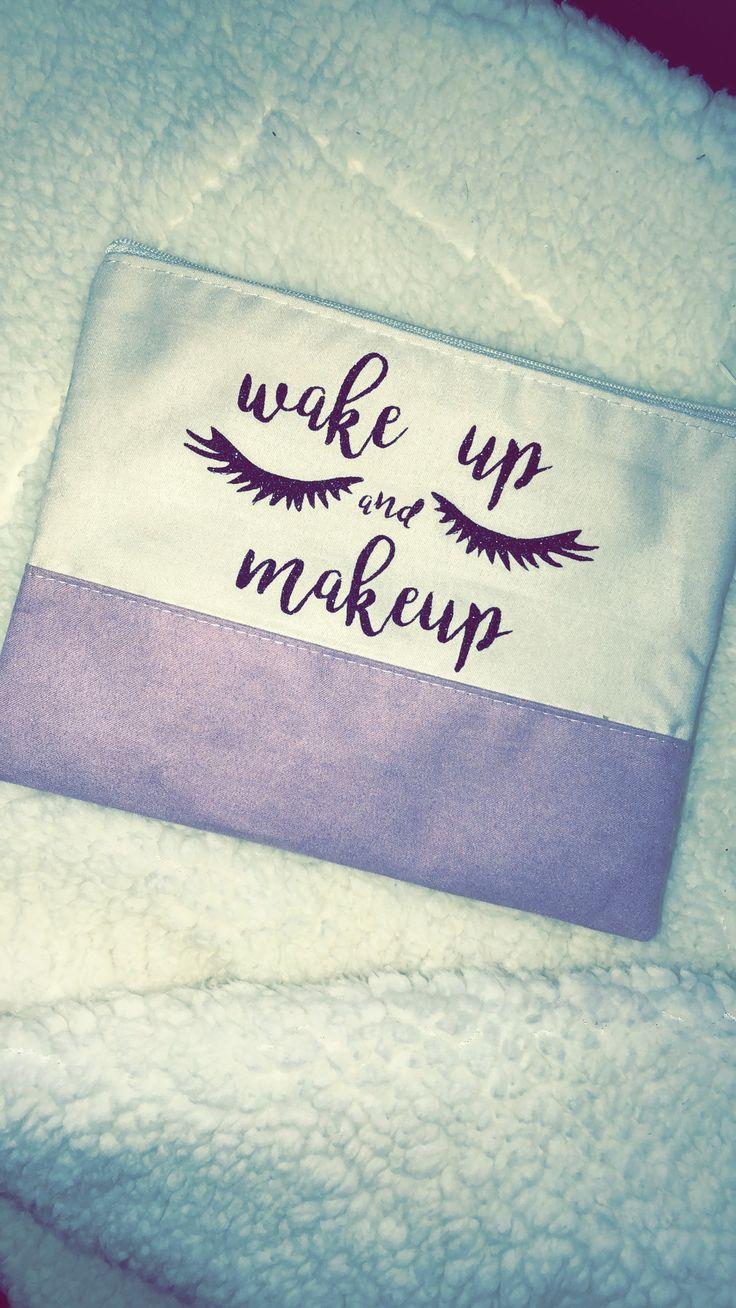 HTV black glitter dollar tree makeup bag Diy makeup bag