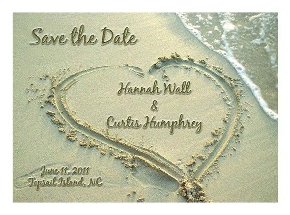 Save the Date in the Sandy Beach Card or by NikkiDoodleDesigns, $2.00
