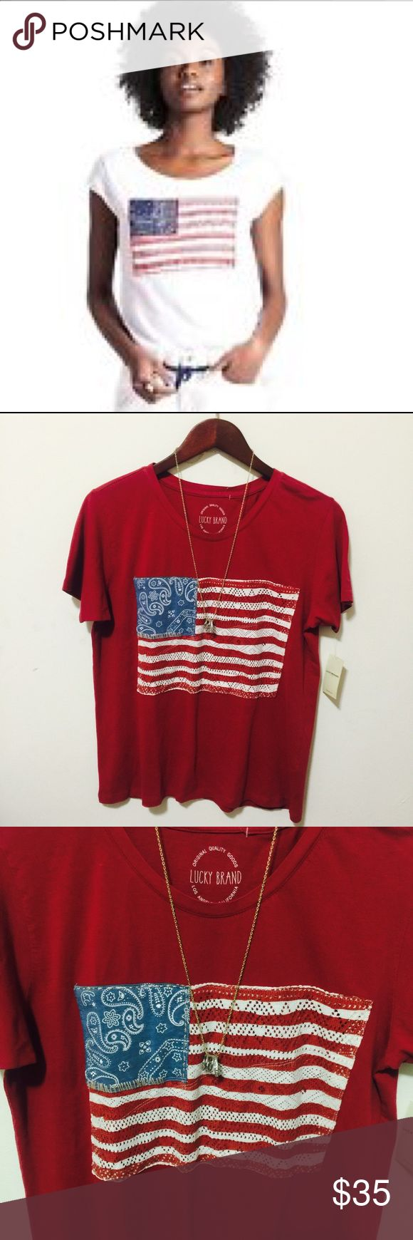 ‼️1DAYSALE‼️LUCKY BRAND PAISLEY AMERICA FLAG SHIRT NWT REATIL PRICE $59 PAISLEY AMERICAN FLAG SHIRT ITS RED NOT WHITE SHIRT SIZE LG LEN 25 PIT TO PIT 20 PLEASE ASK ANY QUESTIONS ❤️❤️NEW INVENTORY❤️❤️  ✅BUNDLE AND SAVE ON SHIPPING 20% OFF ON ANY BUNDLES MY PRICES ARE GREAT AND THERE NWT OR NWOT UNLESS STATED  THERE NAME BRAND SELLING THEM FOR CHEAP✅  ***DONT FORGET TO FOLLOW I DELETE AND RELIST***  # GREAT DEALS Lucky Brand Tops Tees - Short Sleeve