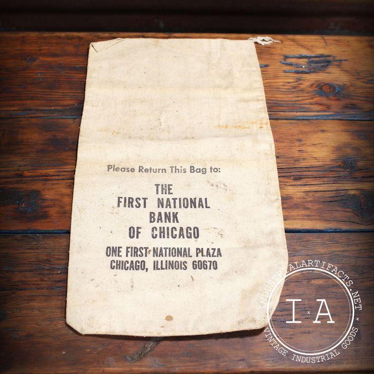 Vintage First National Bank of Chicago Money Bag