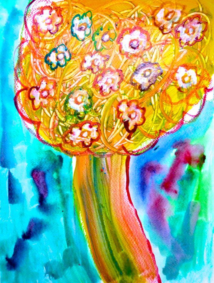 "peinture de Marie-Pierre Valat ""arbre fleurs"", 2016, art naïf"