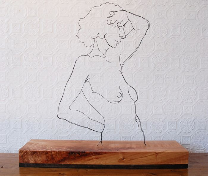 """Gavin Worth: """"Rising"""" - Steel wire and curly maple, 21""""x20""""x5.5"""""""