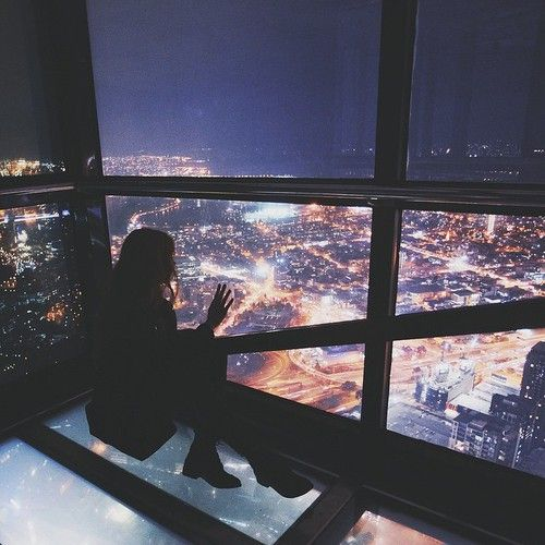 city, light, and girl image