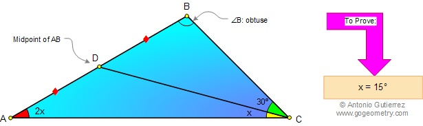 Geometry  Problem 46. Angles, Triangle, 30, 15 Degrees, Median, Congruence. Level: High School, College, Math Education.