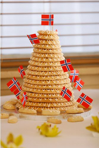 Norwegian wedding cake... :) called Kransekake, made of grinded almonds egg whites and powdered sugar. Kinda same procedure for making marsipan but is also baked in the oven