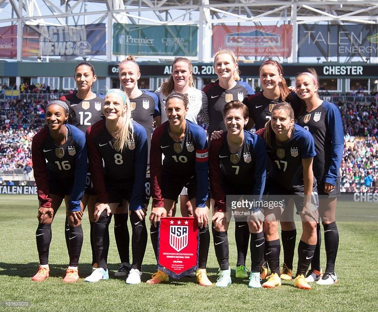 The USA team starting eleven line up for a group shot, Back row, left to right, Christen Press #12, Becky Sauerbunn #4, Alyssa Naeher #21, Samantha Mewis #3, Lindsey Horan #20, Mallory Pugh #2, Crystal Dunn #16, Julie Johnston #8, Carli Lloyd #10, Meghan Klingenberg #7, and Tobin Heath #17 prior to the match against Colombia at Talen Energy Stadium on April 10, 2016 in Chester, Pennsylvania. The United States defeated Colombia 3-0.