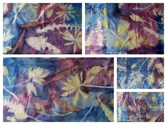 Azul púrpura bufanda bufanda azul planta de impresión bufanda