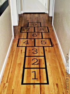 INDOOR HOPSCOTCH:  Use black electrical tape to set up the squares.  Use a small bean bag for the rock.