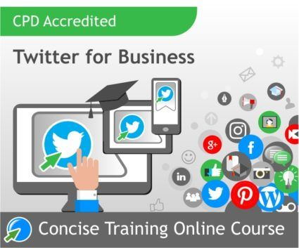 "CPD Accredited Twitter for Business online course. This course will open your eyes to the possibilities Twitter offers for marketing and promotion of your business, product or personal brand. Learn the ""how"" and ""why"" of Twitter and how to work with it efficiently. Concise Training's social media courses are updated every 6 months, come with unlimited tutor support and the cost includes your assessment and certificate."