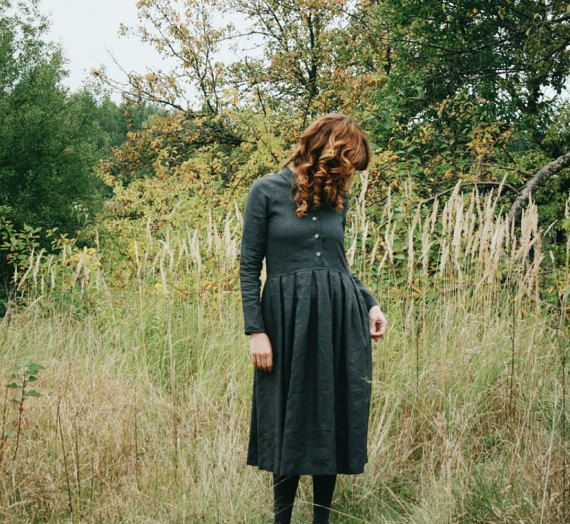 Robe lin gris robe à manches longues robe lin longue par OffOn