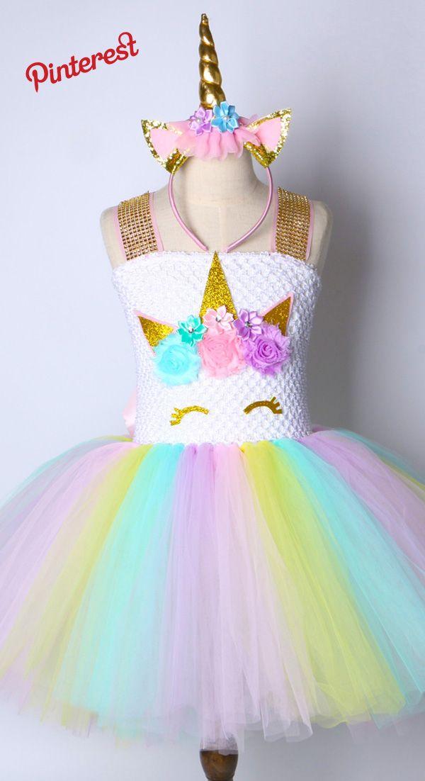 2ad0dc4a9 Niños Chicas Vestido Tutu Rainbow Unicorn Princesa del Cumpleaños De ...