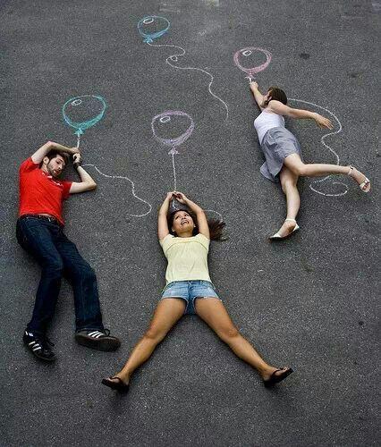 Chalk outline balloons flying away pose