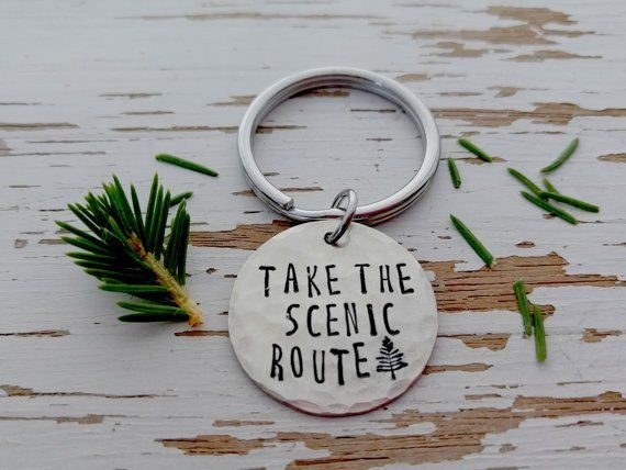 Take the scenic route key chain - explore - adventure - hand stamped key ring - pine tree - wilderness - wanderlust - travel - vacation fun