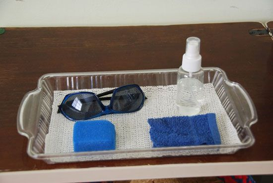 Creating a sunglasses cleaning activity won't require more than items you have at home. A small spray bottle of water, a sponge, a cloth to dry on and a pair of sunglasses are all that is needed to help children practice a skill and responsibility from everyday life.