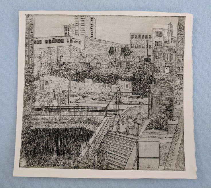Vince Drony 'Ghirardelli Square' etching, 1975 by tlgvintageart on Etsy
