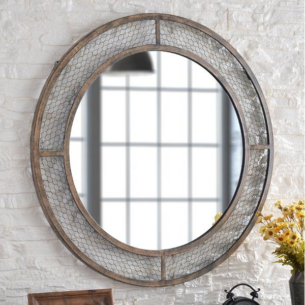 A Farmland Inspired Frame Transforms This Round Wall Mirror Into A Striking Piece Of Wall Art Perfectly Sui Accent Mirrors Mirrors Wayfair Brown Framed Mirrors