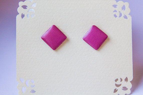 Pink studs pink earrings small  post earrings pink от JewelryBest