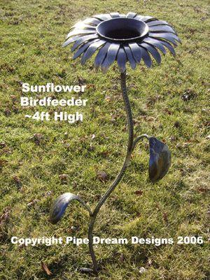 Unique Garden Junk Art | handcrafted ironwork four foot sculpted metal art sunflower birdfeeder