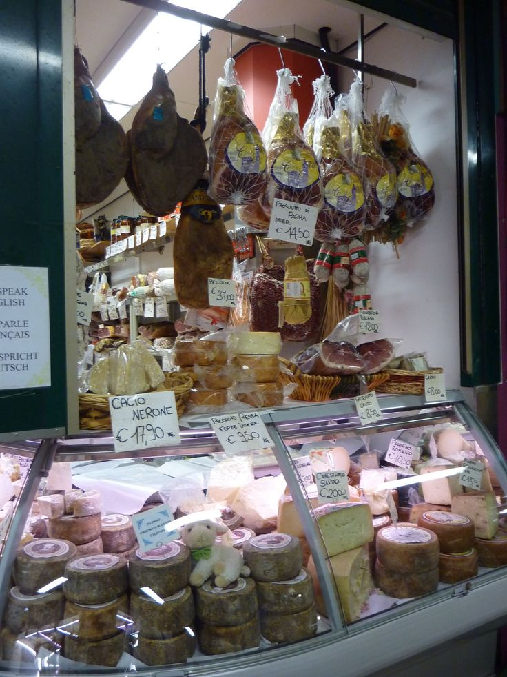 Delicious hams and cheeses at Florence's Mercato Centrale (central market).  A great place to visit even if you aren't buying!!