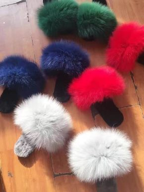 Winter Big Fluffy Plushed Fox Fur Soft Slippers Luxury Big Fur Slippers Discount | Clothing, Shoes & Accessories, Women's Shoes, Slippers | eBay!