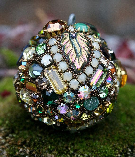 Vintage Rhinestones Ball Orb Sphere Ornament by ASoulfulJourney, $85.00