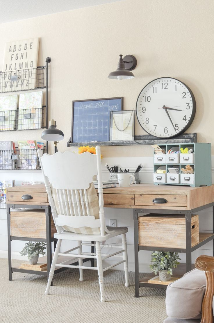 An Organized Desk For Fall Farmhouse Style Home Office Space Inspiration Workspace Office Office Space Inspiration Farmhouse Office Decor Home Office Space