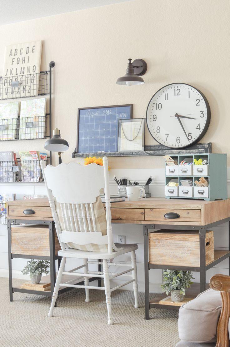An Organized Desk For Fall Farmhouse Style Home Office Space