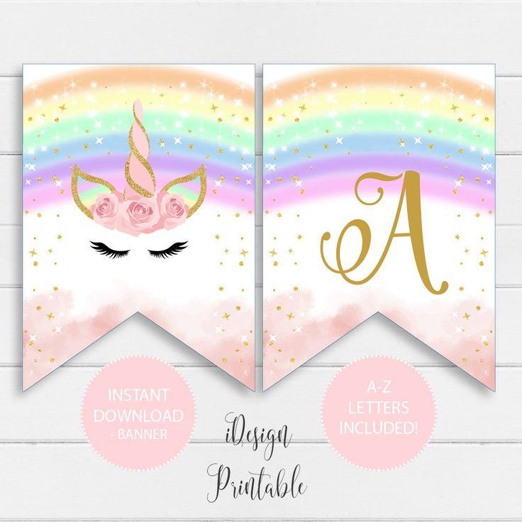Rainbow Unicorn A-Z Letters Banner, Unicorn Birthday ...